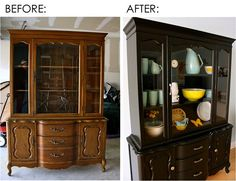 redo old furniture. this makes it look so easy!  As you can see, very similar the hutch I have.  Mom, however, advises against painting as mine is all original still.  But def needs a good clean up