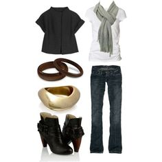 White Shirt, Scarf and Jeans