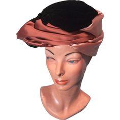 Fetching 60s Satin and Velvet Sculptured Vintage Turban Hat