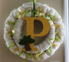 Wreath for a baby shower or ideas for the large letter.