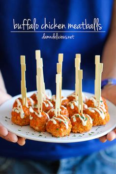 Slow Cooker Buffalo Chicken Meatballs - Use ranch instead of blue cheese dressing