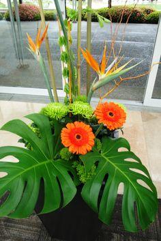 orange exotic wedding flowers