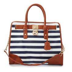 Cheap Michael Kors Striped Lock Large Navy Totes Clearance