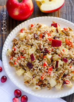 Quinoa Salad with Apples, Cranberries, Pecans & Maple Basil Dressing - healthy Fall salad or side that's ready in 15 mins.