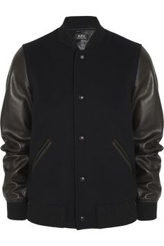 A.P.C. Atelier Production et Création Leather and wool-blend bomber jacket