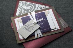Dramatic Script Modern Wedding Invitation by JulieHananDesign, $5.00