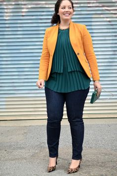 Mustard, Emerald & Leopard via Girl With Curves