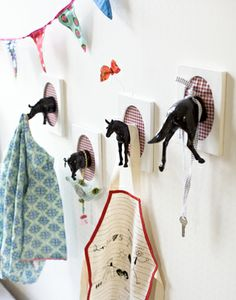 Cool idea for hooks in a kids room!!