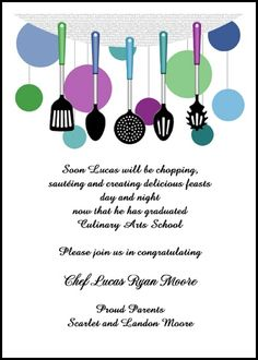 enjoy same day printing and shipping on your cooking school graduation invitations and culinary graduation announcements for commencement and ceremony at no additional costs at InvitationsByU, number 7592IBU-LM as low as 79¢