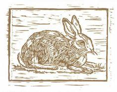 Handcarved Rabbit Block Print Ink Jet Print on Lightly Textured Strathmore Paper..