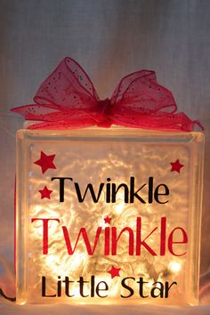 Cute glass block idea - stencil, frost spray, ribbon and lights