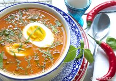 Tomato soup with chili and  basil
