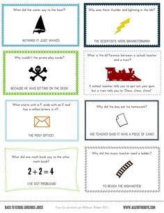 FREE PRINTABLE SCHOOL LUNCH NOTES /JOKES!