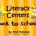 7 Literacy Centers and more! {Kindergarten and 1st grade Common Core Aligned} Capital and Lowercase Letter Matching, Letter Graphing, 1st Day/Week of School Memory Book, 2 Student Emergent Reading books and more!