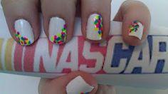 Nascar nails! Gelish with Shellac polka dots.