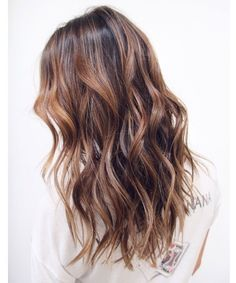 Beachy brunette wavy hair