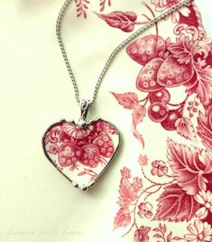 Johnson Bros Strawberry Fair broken china jewelry heart pendant necklace red toile