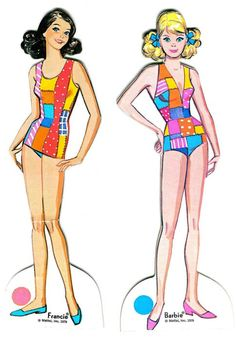 Francie and Barbie Paper dolls 1960's