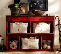 Lucy Wood Console Table, Weathered Red finish pottery barn kitchen decor, potteri barn, basket, entryway