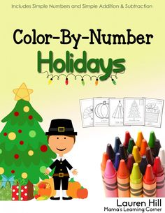 BRAND NEW---> Color By number Holidays - 55 pages of Thanksgiving and Christmas-themed coloring pages!