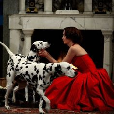 Red and black and white - the love of a woman for her dogs!