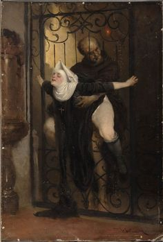 The Sin (c. 1880), erotic painting of nunsploitation by Lossow, see 19th century German erotica.