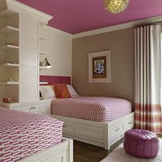 Fun for shared girls room in the future! Love colors, painted ceiling, shelving in between beds.