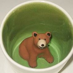 A bear at the bottom of a green mug. So #Baylor!