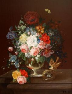 Stilleven met bloemen en een vogelnestje -   Eduard Wuger