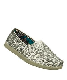 Sequins. Yes. Sequins! :: Silver World Glitter Love Slip-On Shoe by BOBS from Skechers on #zulily