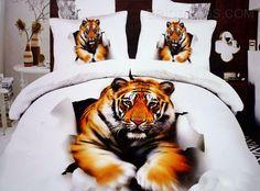 Foerce Tiger Print D  Cotton Duvet Cover Sets D Bedding