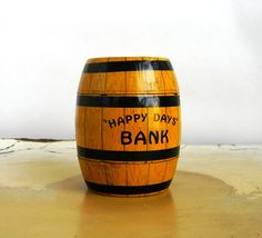 Happy Days Bank tin barrel  J Chein and Co  by Mylittlethriftstore, $26.00