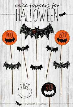 Free Halloween printable toppers for cakes or cupcakes!