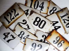 vintage enamel house numbers from Europe – available at AtticAntics