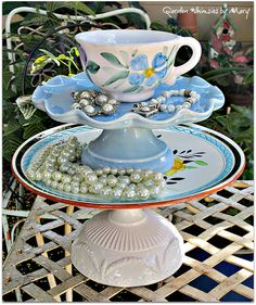 Blue Floral Pedestal Stand Whimsy  As by GardenWhimsiesByMary