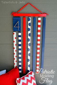 Patriotic Wood Molding Flag -- Tatertots and Jello #DIY #4thOfJuly