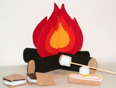 DIY Camp Set...Smore...Toasted Marshmallows...Felt Food Pattern. $6.99 (not into making these but thought too darn cute)