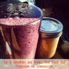 """Metabolism booster drinks and smoothies: Ginger / Pineapple Smoothie, Peanut Butter Smoothie, Tropical Treat Smoothie, Berry Smoothie, Green Tea, Apple / Almond Smoothie, Date Smoothie, Apple / Kale Smoothie, Coconut / Raspberry Smoothie, and """"Dr. Oz"""" Green Tea (with mint leaves and tangerine slices)"""