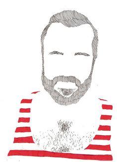 beard face  illustration / ilustración, ahora todo lo veo a modo de dibujo
