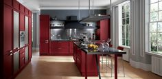 another modern red Italian kitchen