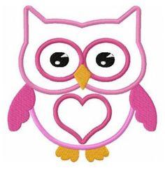 Love owl applique machine embroidery design
