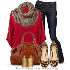 red with scarf and leopard shoes