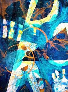 "Mixed Media Artists International: ""Sea Creatures"" Original Contemporary Abstract Expressionism Mixed Media Painting by California Contemporary Artist Barbara Van Rooyan"