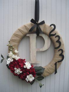 Monogram Burlap Wreath with Address Numerals
