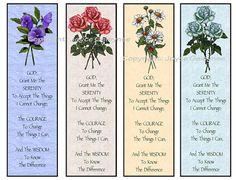 Instant Printable Bookmarks Flowers Serenity Prayer by joyart, $3.00