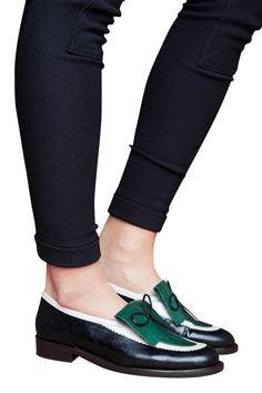 Color-Block Leather Loafers.