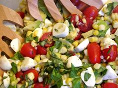 caprese salad with corn and avocado