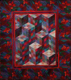 CubeMaze by Joann Belling.  Tumbling blocks, cityscape variation