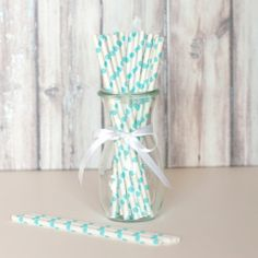 Paper Straws - White with Aqua Dots