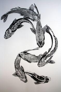 Artist: Sue Brown. Title: Fish. Description: Collagraph.